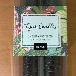 "10"" 2pk black unscented taper candles new in box!!"
